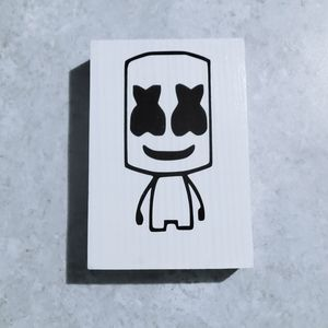 Hand Crafted | Wood Plaque Cartoon Marshmello sign